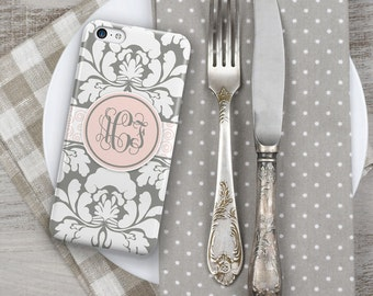 Floral phone case, Damask Womens Elegant Fits iPhone 4/4s 5/5s 6/6s 7 8 5c SE X and Plus Summer to fall fashion, Gray pink  (1416)