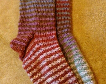Pink purple and silver stripey toe cuddling Sassi socks
