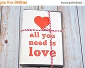 LETTERPRESS SALE 50% OFF Letterpress card set , all you need is love , valentines , love cards , red hearts , letterpress valentine,  red le
