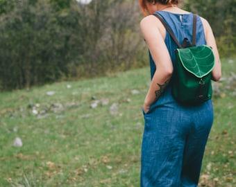 Dark Green Leaf Mini Backpack, Women's Rucksack, Boho Festival Backpack, Waterproof, Toddler Backpack, Small Rucksack