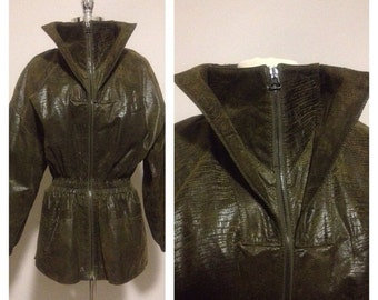 ON SALE 1980s Snake Skin Patterned Italian Made Leather Jacket
