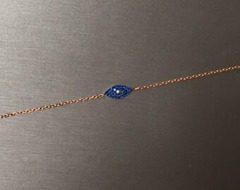 Modern Blue Eye Bracelet-Rose Gold