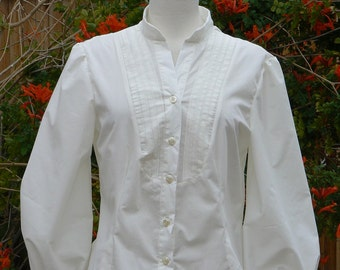Women's Pleated Front Victorian Shirt Steampunk Tuck Blouse Slimming