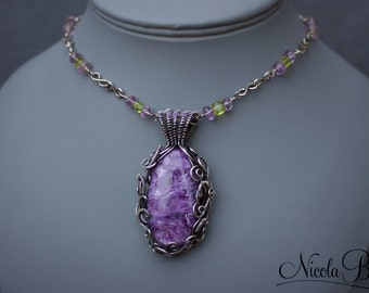 Sterling Silver Charoite, Amethyst and Peridot Necklace