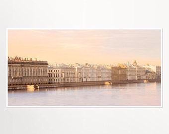 Panoramic art print, St Petersburg city view photography, pastel large wall art, Panoramic photo, living room decor, 10x20, 12x24, 18x36