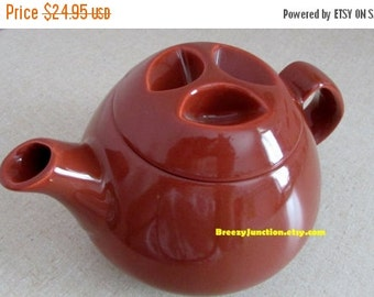 CIJ Teapot, Rusty Red with Unique Lid, Home Decor, Colorful Accent, China Teapot, Primitive, Retro  ~ BreezyJunction.etsy.com