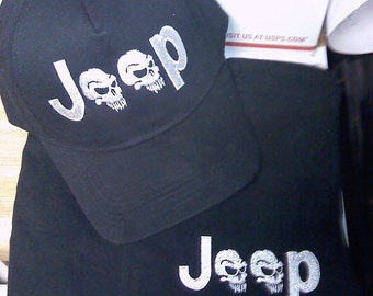 JEEP tee shirt - Save with a COMBO  -  Custom Embroidered  Hat & Tee shirt  for jeep lovers  SKULLS