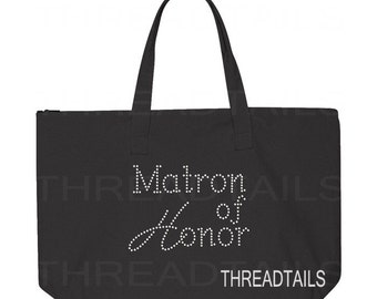 Rhinestone Matron of Honor tote. Large black canvas bag, zip top. Bridal party bling gift idea, beach destination wedding totes.