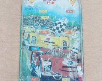 ON SALE Vintage 1970'S Nascar Daytona 500 Pin Ball Game, Wolverine Toy, Action Pinball, Spring Pinball, Racing, Car, Red, Yellow, Child's