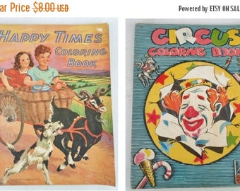 ON SALE Vintage Pair of Happy Times and Circus Coloring Books, Child's, Dog, Boy, Girl, Clown, Orange, Blue, Red, Paper, Saalfield Pub. Co.