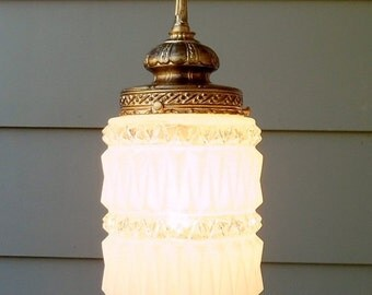 ON SALE Vintage, Swag Light, Lamp, Pendant Light, Hanging Light, Hanging lamp, Frosted Glass Shade, Mid Century Modern