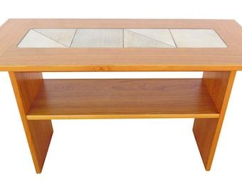 Vintage Danish Modern Teak & Tile Sofa Table, by Gangso Mobler Denmark