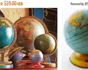 ON SALE J. Chein, World, Globe, Pre 1928, Bank, Globe, Vintage, Antique, Made in Usa, Child's, Tin, Litho, Map, Blue, Gold, Yellow, Collecti