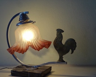 MOVING HOUSE French Art Deco Rooster Lamp - Vintage Table lamp -  Vintage Bedside Lamp on Marble 1940s - Good Condition - Rooster Lovers!