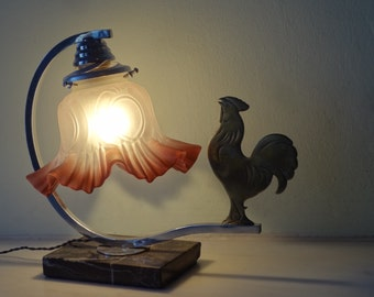 French Art Deco Rooster Lamp - Vintage Table lamp -  Vintage Bedside Lamp on Marble 1940s - Good Condition - Rooster Lovers!