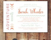 Bridal Shower Invitation, Adventure Awaits, Bride, Wedding, Arrows, Trendy, Coral, Mint, Party, Custom, Printable, Invite, Wedding