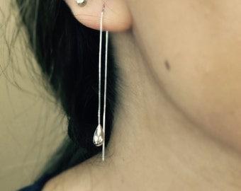 Enchanting 14k White Gold Threader Earrings