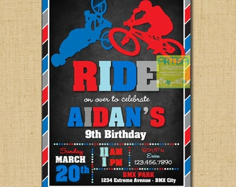 BMX Invitation, Bicycle birthday invitation, BMX birthday invitation, extreme bike invitation, bmx birthday invite, bicycle invitation