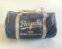 Vintage KANSAS CITY ROYALS 1985 World Champions Denim / Canvas Duffel Bag