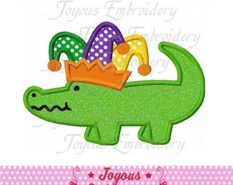 Instant Download Mardi Gras Alligator Applique Machine Embroidery Design NO:1932