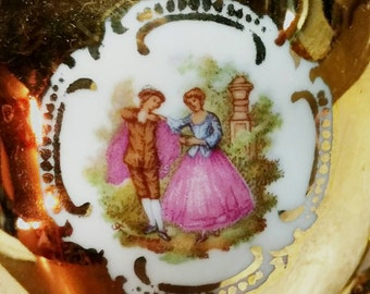 JWK Bavaria Gold Porcelain Demitasse Cup Tea Cup and Saucer Jean-Honoré Fragonard Marie Antoinette Set of 2