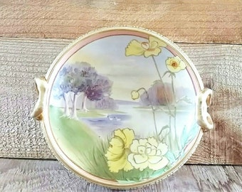 Nippon China Bowl Gold Encrusted Double Handled Hand Painted Floral BonBon Bowl 1911  Morimura Bros Purple and Yellow Flowers & Trees