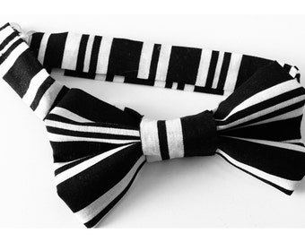 Black and White Striped Bow Tie / boys bow tie