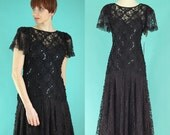 Vintage 80s Black Lace Dress - Sequin Dress - Drop Waist Dress - 20s Style Dress - Formal Dress - Gatsby Dress - New Old Stock - Size Small