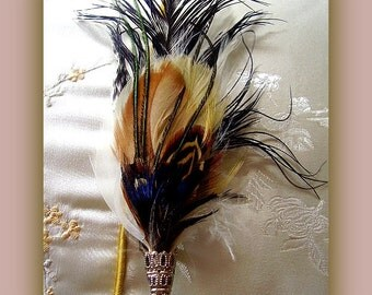 Hat Pins Brooch Hair attire Fascinator in Blue Peacock Feathers Ibis Pheasant Stick Pin Handmade Silver fillagree Men Women Unisex