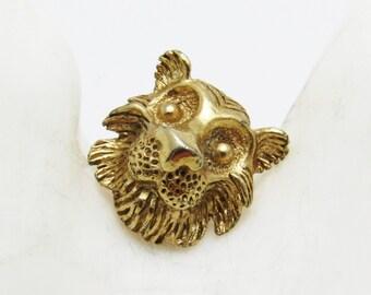 Vintage Lion Tie Tack Lapel Pin Mens Jewelry H799