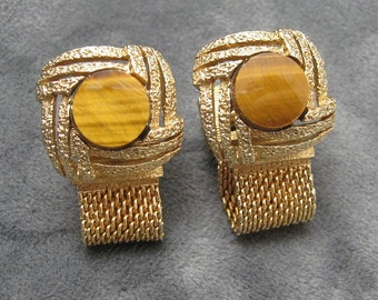 Tiger Eye Cufflinks Mesh Wraparound Accessories Vintage Mens Jewelry H819