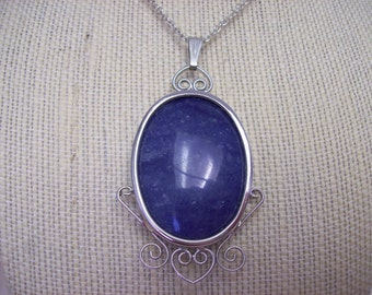 Sodalite & Silver Pendant Necklace