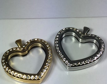 Valentine Floating silver or gold 30mm Heart Pendant