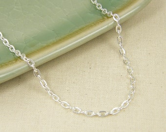 30 Inch Silver Chain Necklace - Bright Silver Plated Medium Link Oval Necklace Chain |CH2-Med-BS30