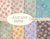 Elegant Paper - 12 x 12 inch - background - digital collage - set of 8 - Printable Download