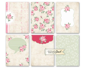 Journal Cards - Sweet Roses - Project Life - digital collage sheet - set of 6 cards - Printable Download