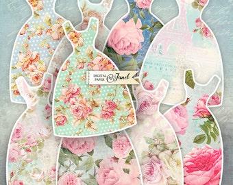 Little Flower Dress - digital collage sheet - set of 9 - template dress - printable tags