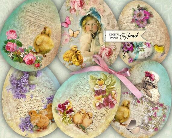 Easter Eggs - digital collage sheet - set of 9 eggs