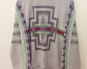 Vintage Pendleton Crewneck Sweater with Colorful Southwestern Native Pattern
