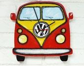 The Red Retro Volkswagen Car Wall Clock Home Decor for Children Kid Boy Girl Nursery Playroom, wall clocks handmade