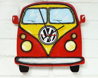 Red Retro Volkswagen Car Wall Clock, Home Decor for Children, Dad Gift, Gift to our Father, Dad Appreciation Gift, Fathers Day Gift