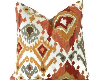 Indoor Outdoor Pillow Covers ANY SIZE Decorative Pillows Outdoor Pillow Cover Ikat Pillows Orange Pillow Mill Creek Outdoor Lavezzi Paprika