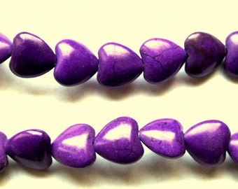 12 mm Purple Puff Heart Beads