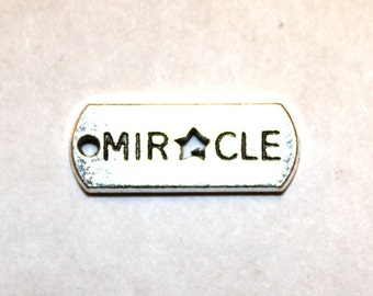 "5 Antique Silver ""Miracle"" Tags Charms/Pendants"
