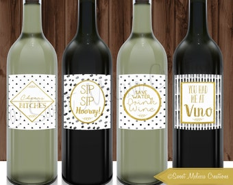 Funny Wine Labels-Gold Foil-Set of 4-INSTANT DOWNLOAD-Just Because-Wine Humor-Girlfriends-Party Wine Labels-Sweet Melissa Creations