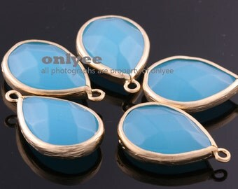 2pcs-19mmX15mmMatte Gold Faceted large tear drop with simple frame pendants-OceanBlue(M307G-O)