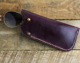 Leather Glasses Case // Horween Leather Oxblood Chromexcel + Antique Brass Hardware // Personlized Gift with Custom Monogram