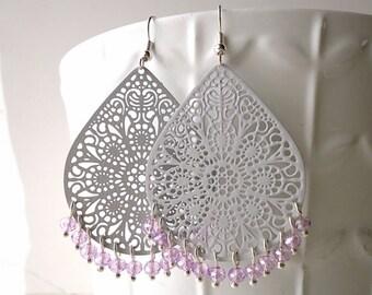 Grey earrings, Pastel earrings, teardrop earrings, long earrings, spring trend 2018, lace earrings, crystal earrings, violet purple earrings