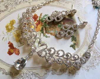 Love couple romantic swans wedding bridal rhinestones crystals chandelier teardrop jewelry set