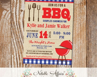 Red Blue Backyard BBQ Baby Q Barbecue blue gingham baby shower couples shower engagement party etc invitation kraft background - any event
